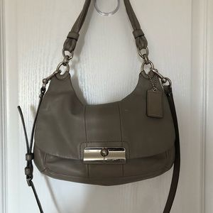 Coach grey handbag with crossbody strap